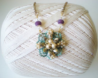 Antique Style Beaded Cluster Pendant Necklace / Upcycled Vintage