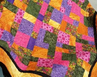 "Lap Quilt. Desert Blooms in Arizona, New Mexico, 66"" x 76"" , Twin/Full Bed. Sunroom. Dorm Sorority Graduation Wedding Quilt."