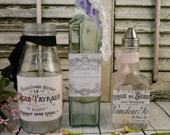 3 Shabby chic vintage clear bottles with labels - LOT paris french romantic set of chocolate