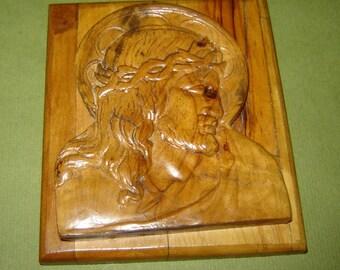aNTIQUE old VINTAGE ICON wOOD cARVING hAND cARVED Jesus CHRIST Head uNIQUE