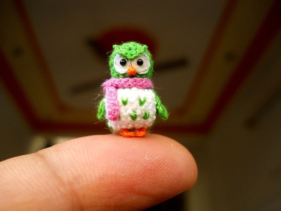 Green Owl Pink Scarf - Micro Crochet Miniature Bird - Made To Order