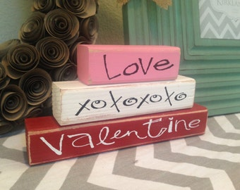 VALENTINE'S DAY stacking wood home decor seasonal blocks - with vinyl lettering