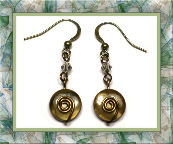 Brown Topaz & Antique Bronze Sculpted Wire Earrings (Pierced Only)