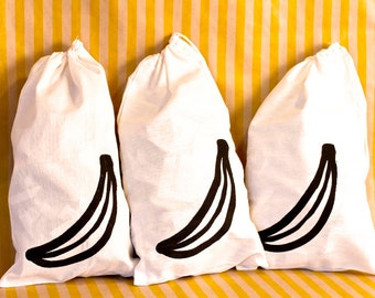 Silkscreened Banana Drawstring Bag