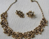 Vintage Pearl Amethyst Statement Choker Necklace Set