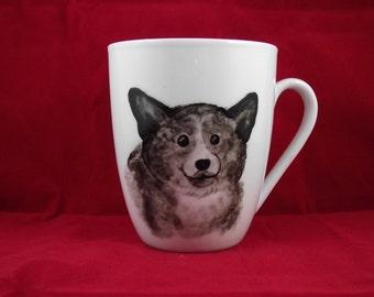 Corgi handpainted art on  mug