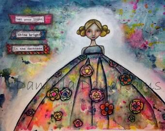Whimsical Folk Art Girl - Shine Bright 9x12 Original Mixed Media Painting on 140lb Watercolor Paper