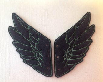 Black and Green Embroidered Percy Jackson Hermes Inspired Shoe Wings
