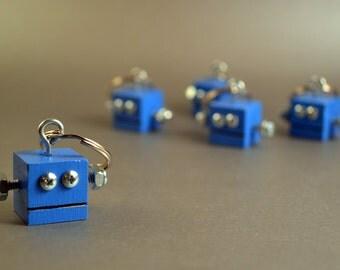 Robot Keychain, Modern Functional Art, Electric Blue Key Holder