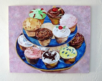Original Encaustic Painting Cupcakes original encaustic beeswax painting Kitchen, Pastel, shabby chic wall art cookbook