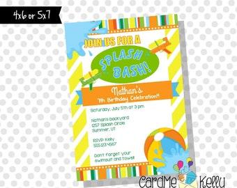 Printable Splash Bash Squirt Gun Pool Party Summer Party Birthday Invitation- Digital File