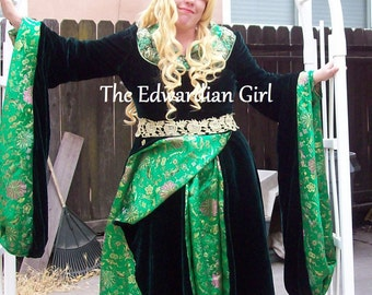 Custom made velvet and brocade Medieval fantasy gown elf gown made in the USA