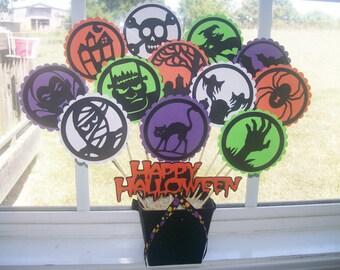 Halloween Table Centerpiece - *13* Halloween Die Cuts plus Black Glitter Bucket