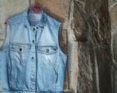80s OVERSIZED DENIM VEST vintage faded blue Paris Blues S