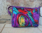 80s ABSTRACT POUCH PURSE clutch bag vintage fabric purple