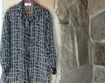 80s SHEER OVERSIZED SHIRT vintage op art black grey checked button up M