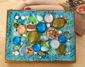 Vintage Zell Compact Purse Art Glass Jewel Gorgeous Antique  Collectible Lipstick Makeup Powder Mirror