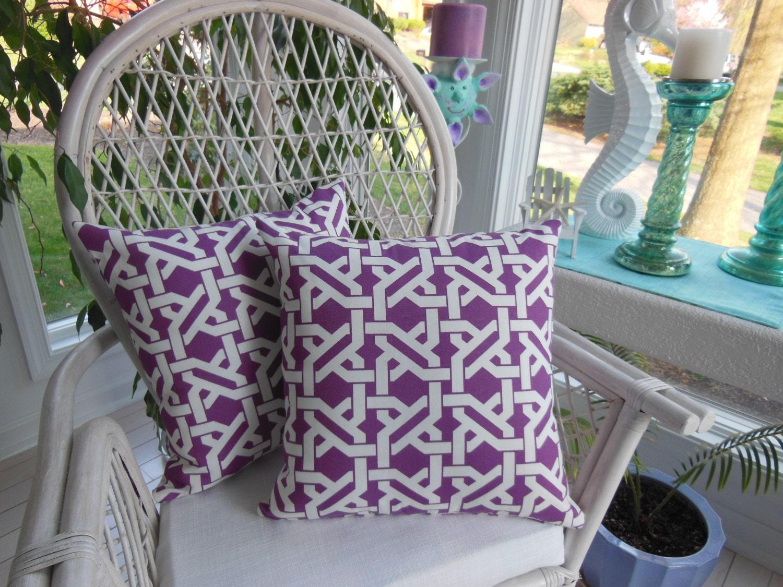 Purple Fretwork Pillow Indoor Outdoor Fabric Haldor