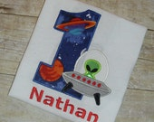 Custom Boutique Space Alien Birthday Applique t-shirt or onesie for boys - machine embroidered - personalized