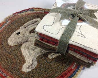 Rug Hooking KIT, Woodland Bunny Chair Pad or Table Mat , J636