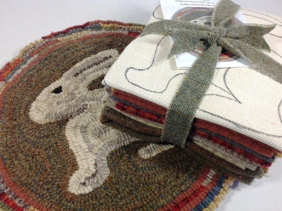 Rug Hooking KIT, Woodland Bunny Chair Pad or Table Mat , J636, DIY Primitive Rug Hooking