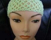 Handmade Crochet Lacy Headband / Hairband - Mint Green Super Stretchy