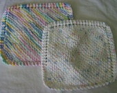 Knit Knitted Dishcloths Washcloths For Baby - Pastels