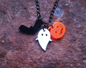 Tiny Halloween laser cut acrylic charm necklace