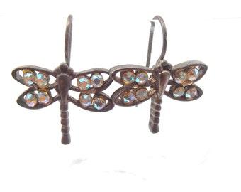 Vintage Dragonfly Earrings Aurora Borealis Rhinestones Silver Tone Hooks Wings Twinkling Cute Kawaii Dragon Fly Villacollezione