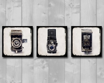 Set of Three (3) Square, Ready-to-Hang Canvases - Home Decor, Office Decor, Vintage Camera Art, Man Cave Decor