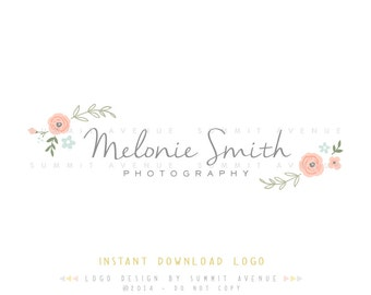 DIY INSTANT DOWNLOAD - Watercolor Floral Premade Logo Design for Photography or Boutique by Summit Avenue