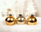 Silver & Gold Christmas Ornaments Vintage Shiny Brite Glass Balls Set of 3 Three 1950's - RelicsAndRhinestones