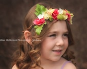 Beautiful Coral and Green Spring Floral Crown Head Wreath perfect for any flower girl, photography session, bridesmaids and bride.