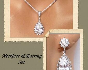 Hollie Wedding Jewelry Set, Necklace and Earrings Set, Rhinestone Crystal Bridal Jewelry Set, Bridesmaids Jewelry Set