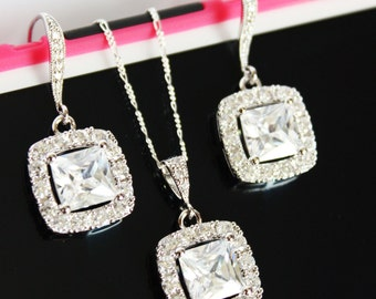 Wedding Earrings and Necklace Jewelry Set, Wedding Earrings, Wedding Necklace, Bridal Jewelry Set, CZ Crystal Wedding Jewelry Set, Gift Set