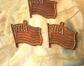 3 Vintage Very Old Brass American Flag Charm Pendants