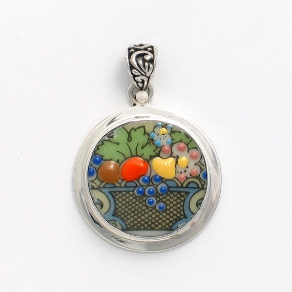 Broken China Jewelry Autumn Fruit Basket Sterling Silver Pendant