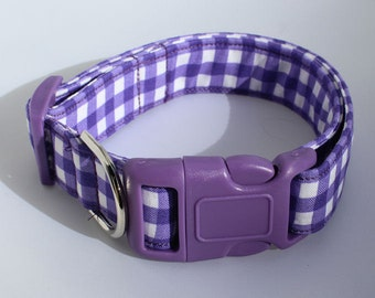 Purple and White Gingham Check Dog Collar Size XS, S, M, L
