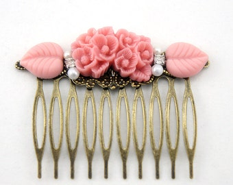 Coral Pink Flower Rhinestone Collage Comb - OOAK Victorian Style Flower Collage Hair Comb - Bridesmaids Gifts Idea - VCC023