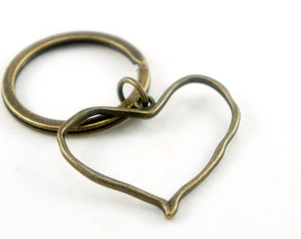 Loving Heart - Antiqued Brass Vintage Style Key Ring - CP073