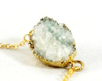 20% OFF Druzy Necklace - White - Natural Agate Titanium Druzy Geode Quartz Crystal Rough Cut Rock Drop Nugget Necklace OOAK - SDN52