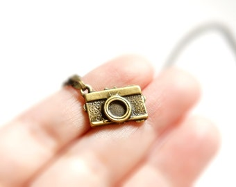 Antiqued Brass Cute Tiny Toy Camera Pendant Necklace - C0019