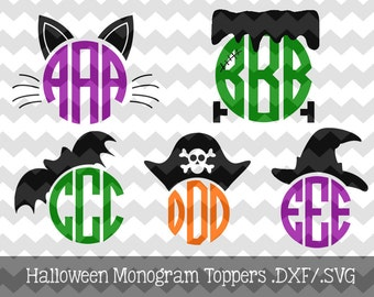 Halloween Monogram Toppers .DXF/.SVG/.EPS Files for use with your Silhouette Studio Software (witch, frankenstein, cat, bat, pirate)