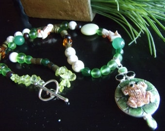 CARVED BONE FROG Necklace with Aventurine Shell Glass Stone Quartz Beads Green Frog Necklace