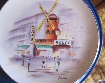 paris plate lipper and mann,,,paris scene, handpainted plate 11""