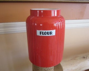 hall flour jar, hall pottery tomato red,,no cover