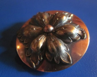mid century modern copper brooch ..pin