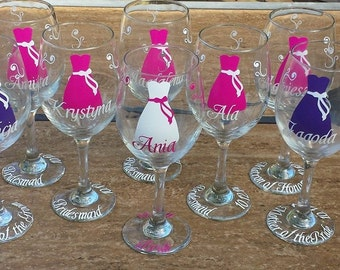 Bridesmaid Wine Glasses-Gift Idea-Choose Your Colors and Quantity-Includes Name, Title and Date