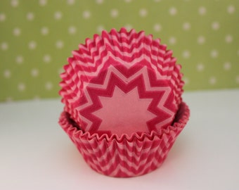 Pink Chevron Cupcake Liners / Cups / Baking