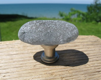 Sale GENUINE Grey BEACH GLASS Cabinet Knob Sea Glass Cabinet Knobs Drawer Pulls